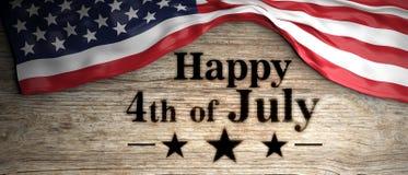 Bandeira do Estados Unidos com a 4o feliz da mensagem de julho colocada no fundo de madeira ilustração 3D ilustração royalty free
