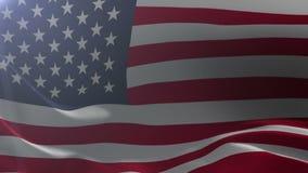 Bandeira do Estados Unidos que acena no mastro de bandeira no vento, símbolo nacional da liberdade ilustração do vetor