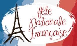 Bandeira do estilo da pincelada com bandeira de França e torre Eiffel, ilustração do vetor Foto de Stock Royalty Free