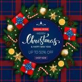 Bandeira do Feliz Natal com caixa de presente, ramos do pinho decorados, Imagens de Stock Royalty Free