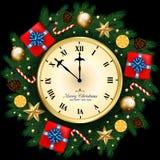 Bandeira do Feliz Natal com caixa de presente, ramos do pinho decorados, Fotografia de Stock