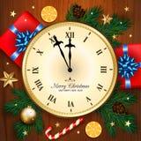 Bandeira do Feliz Natal com pulso de disparo, caixa de presente, bastão de doces, Br do pinho Fotos de Stock Royalty Free