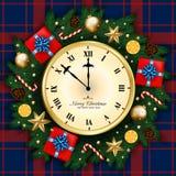 A bandeira do Feliz Natal com pulso de disparo, caixa de presente, pinho ramifica decoração Foto de Stock Royalty Free