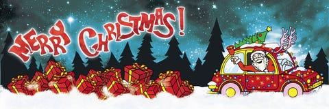 Bandeira do Feliz Natal com Santa Claus Driver e os presentes ilustração royalty free