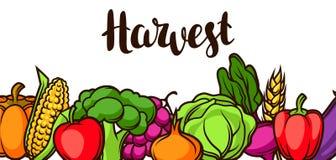 Bandeira do festival da colheita Ilustração do outono com frutas e legumes sazonais ilustração do vetor