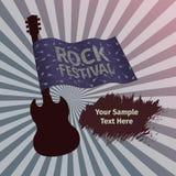 Bandeira do festival da rocha com guitarra e bandeira Imagem de Stock Royalty Free