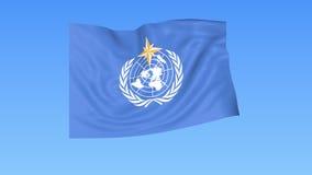 Bandeira do flapping da organização meteorológica de mundo WMO do UN Dar laços sem emenda, 4K ProRes com canal alfa ilustração stock