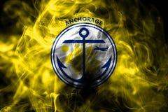 Bandeira do fumo da cidade de Anchorage, estado de Alaska, Estados Unidos de Americ ilustração stock