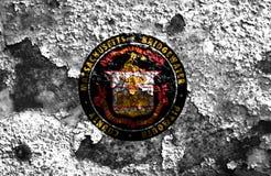 Bandeira do fumo da cidade de Bridgewater, estado de Massachusetts, Estados Unidos Foto de Stock Royalty Free