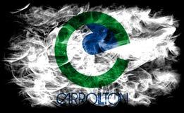 Bandeira do fumo da cidade de Carrollton, Texas State, Estados Unidos da América Fotografia de Stock
