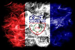 Bandeira do fumo da cidade de Cleveland, estado de Ohio, Estados Unidos da América Imagem de Stock Royalty Free