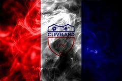 Bandeira do fumo da cidade de Cleveland, estado de Ohio, Estados Unidos da América imagens de stock