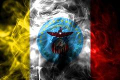 Bandeira do fumo da cidade de Columbo, estado de Ohio, Estados Unidos da América fotos de stock royalty free