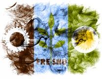Bandeira do fumo da cidade de Fresno, estado de Califórnia, Estados Unidos de Ameri Imagens de Stock Royalty Free