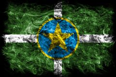Bandeira do fumo da cidade de Jackson, estado de Mississippi, Estados Unidos de Ame imagens de stock