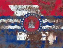 Bandeira do fumo da cidade de Jefferson City, estado de Missouri, Estados Unidos de Foto de Stock