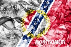 Bandeira do fumo da cidade de Montgomery, estado de Alabama, Estados Unidos da América Imagens de Stock Royalty Free
