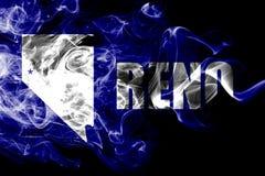 Bandeira do fumo da cidade de Reno, Nevada State, Estados Unidos da América fotografia de stock