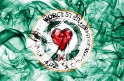 Bandeira do fumo da cidade de Worcester, estado de Massachusetts, Estados Unidos da América Imagens de Stock Royalty Free