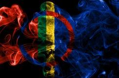 Bandeira do fumo de Sami, bandeira dependente do território de Noruega foto de stock royalty free