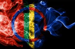 Bandeira do fumo de Sami, bandeira dependente do território de Noruega fotos de stock