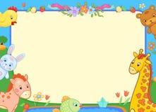 A bandeira do fundo com os animais para tipos, ilustração engraçada floresce Fotografia de Stock Royalty Free