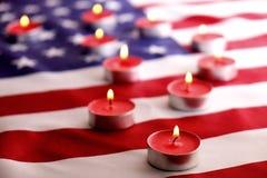 Bandeira do fundo do Estados Unidos da América para a celebração federal nacional dos feriados e o dia de lamentação da relembran Fotografia de Stock Royalty Free