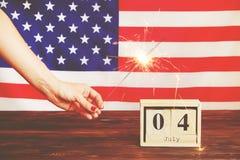 Bandeira do fundo do Estados Unidos da América para a celebração federal nacional do feriado do Dia da Independência Symbolics do Foto de Stock Royalty Free