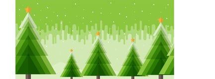 Bandeira do fundo do vetor da árvore do Xmas com neve foto de stock royalty free