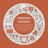 Bandeira do futebol americano com linha ícones de bola, campo, jogador, assobio, capacete Imagens de Stock Royalty Free