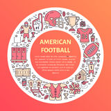 Bandeira do futebol americano com linha ícones de bola, de campo, de jogador, de assobio, de capacete e do outro equipamento de e Foto de Stock Royalty Free