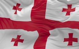 A bandeira do Geórgia que acena no vento 3d rende Imagens de Stock Royalty Free