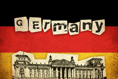Bandeira do Grunge de Alemanha com monumento Fotografia de Stock