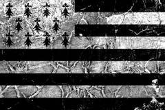 Bandeira do grunge de Brittany, bandeira dependente do território fotografia de stock