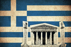 Bandeira do Grunge de Grécia com monumento Foto de Stock Royalty Free