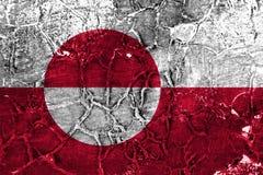 Bandeira do grunge de Greenladn, bandeira dependente do território de Dinamarca imagem de stock royalty free