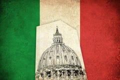 Bandeira do Grunge de Itália com catedral Imagens de Stock Royalty Free