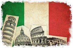 Bandeira do Grunge de Itália com monumentos Fotografia de Stock
