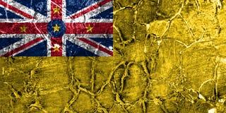 Bandeira do grunge de Niue, bandeira dependente nova do território de Zaeland imagens de stock