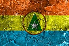 Bandeira do grunge do proivnce de Cabinda, bandeira dependente do território de Angola fotos de stock royalty free