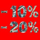Bandeira do interesse na venda com a imagem dos dólares para dentro -10% -20% o texto ? isolado no fundo vermelho imagens de stock