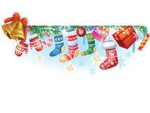 Bandeira do inverno do Natal dos objetos Imagens de Stock Royalty Free