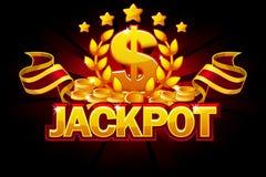 Bandeira do jackpot com sinal de dólar e a fita vermelha Concessões e moeda do casino ?cones do vetor em camadas separadas ilustração royalty free