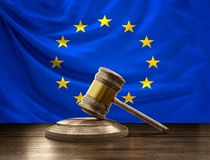 Bandeira do juiz de madeira GA do martelo 3D-Illustrationwooden do juiz de Europa Fotos de Stock Royalty Free