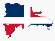 Bandeira do mapa da República Dominicana Imagem de Stock