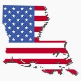 Bandeira do mapa de Louisiana Fotos de Stock Royalty Free