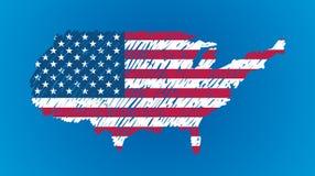 Bandeira do mapa do vetor dos EUA Fotografia de Stock Royalty Free