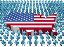 Bandeira do mapa dos EUA com muitos povos ilustração do vetor