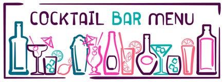 Bandeira do menu da barra do cocktail Imagem de Stock