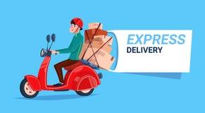 Bandeira do molde da bicicleta de Boy Riding Motor do correio do ícone do serviço de entrega expressa com espaço da cópia ilustração royalty free